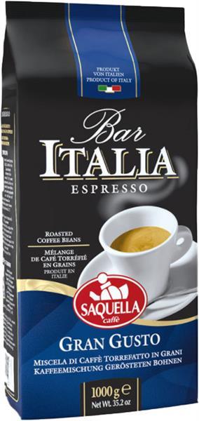 Bar Italia 100% Arabica, Espresso Gran Gusto, Bohnen, 1kg, Linie Bar, Saquella