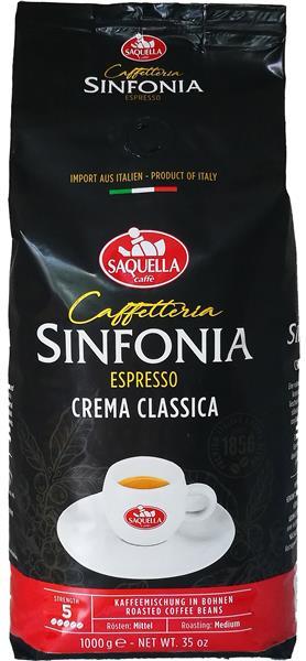 Saquella Espresso Caffe Crema Classica, Bohnen, 1kg, Linie Sinfonia